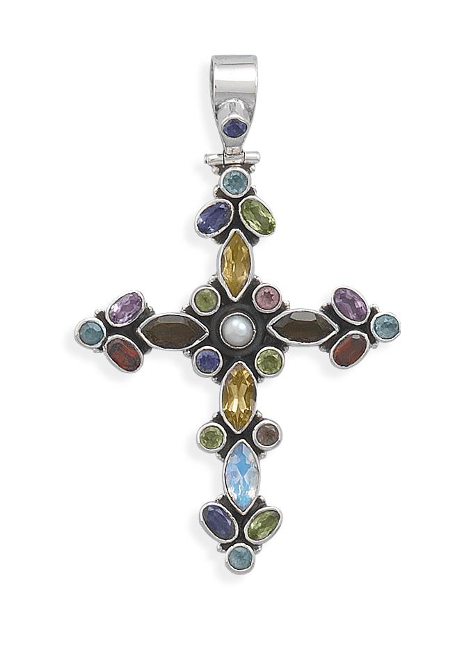 sterling silver genuine gemstone cross pendant necklace ebay