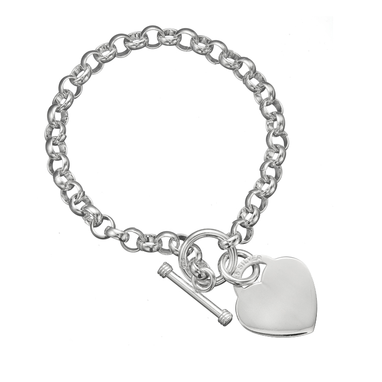 925 sterling silver rolo link chain engravable heart charm. Black Bedroom Furniture Sets. Home Design Ideas