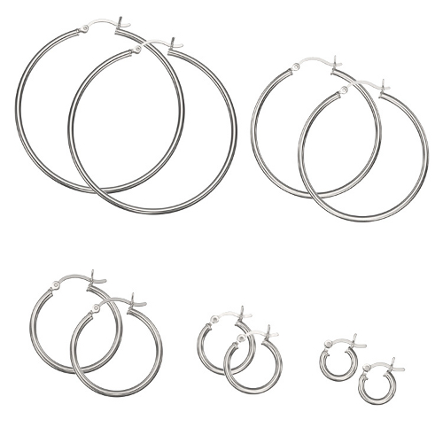 925-Sterling-Silver-Plain-2mm-Thin-Polished-Round-Hoop-Earrings-CHOOSE-A-SIZE
