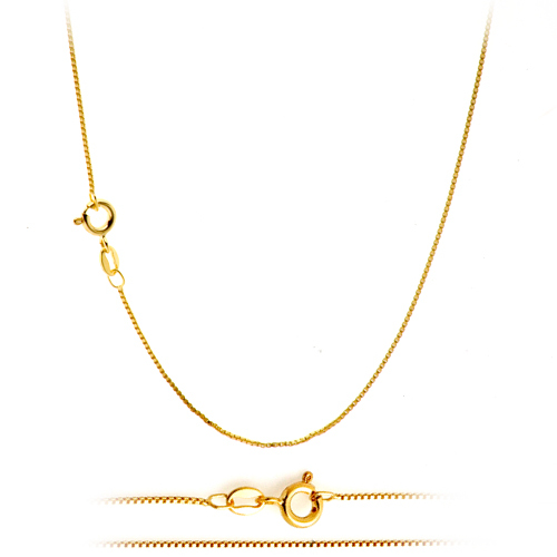 Thin Gold Chain Bracelet: 18K Gold Plated Classic Italian Thin Box Chain Necklace