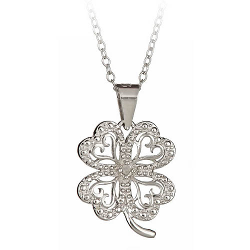 925 sterling silver accent four leaf clover