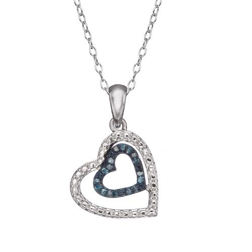 925 Sterling Silver 10 CTW Genuine Blue Diamond Heart ...