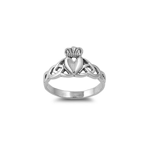 925 Sterling Silver Irish Claddagh Ring With Celtic Knot