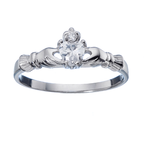 925 sterling silver thin claddagh ring with small cz